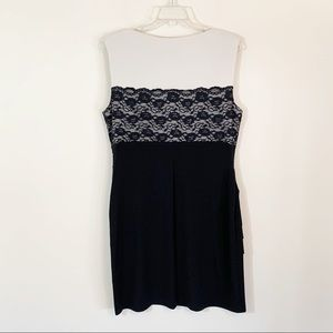 connected apparel Dresses - Connected Apparel • Tan & Black Lace Overlay Dress